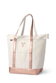 Large Natural Rose Gold Zip Top Long Handle Canvas Tote Bag