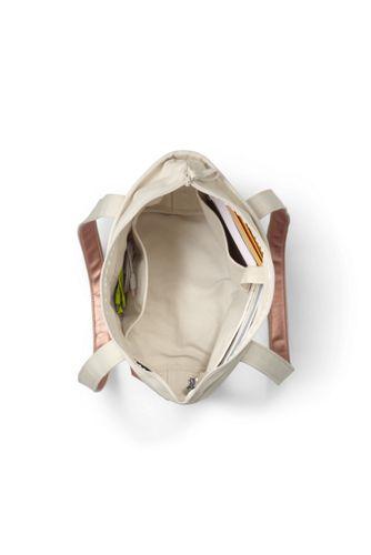 Medium Natural Rose Gold Zip Top Long Handle Canvas Tote Bag
