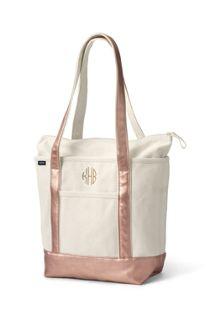 Natural Metallic Zip Top Long Handle Canvas Tote Bag