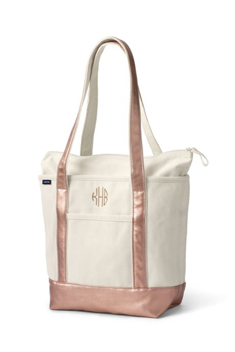 Medium Natural Rose Gold Zip Top Long Handle Canvas Tote Bag