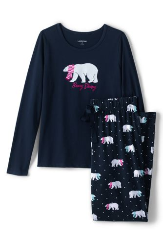 Le Pyjama 2 Pièces Graphique en Coton Stretch, Femme Stature Petite