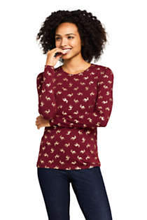 Women's Petite Christmas Crewneck Long Sleeve T-Shirt Metallic Print, Front