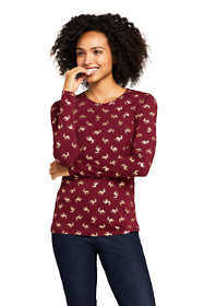 Women's Petite Christmas Crewneck Long Sleeve T-Shirt Metallic Print