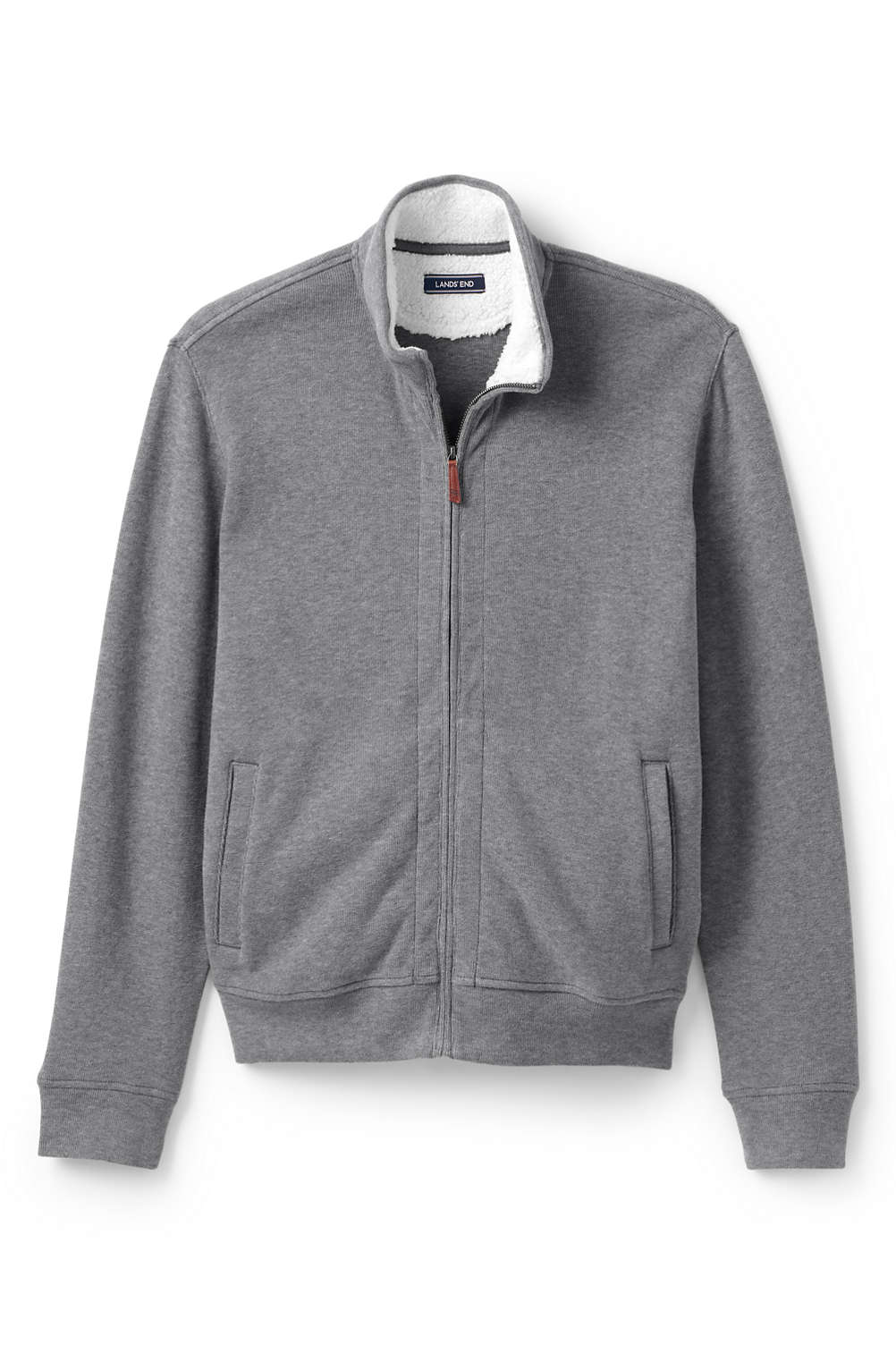 621bc59ca703f Men s Sherpa Collar Bedford Rib Full Zip Sweater from Lands  End
