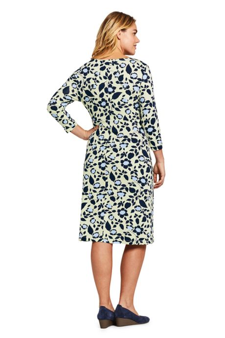Women's Plus Size 3/4 Sleeve Knit Scoopneck Knot Dress