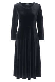Women's Plus Size 3/4 Sleeve Velvet A-line Dress