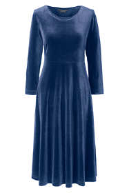 Women's Petite 3/4 Sleeve Velvet A-line Dress