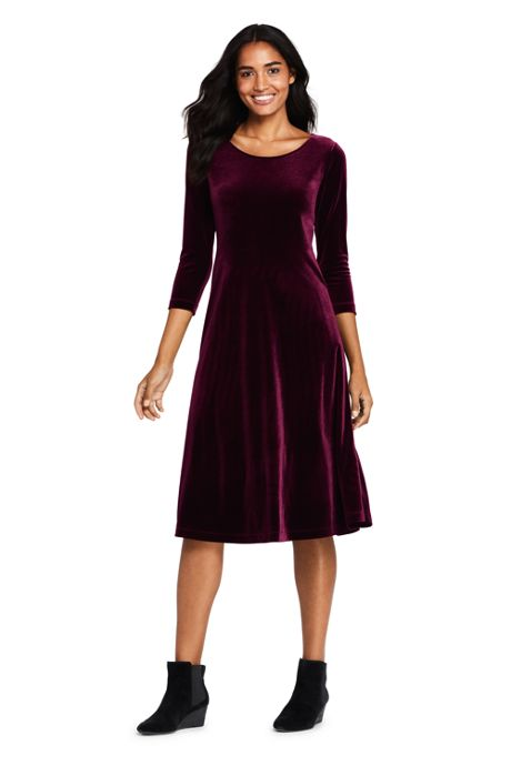 Women's 3/4 Sleeve Velvet A-line Dress