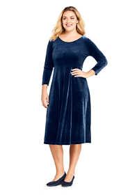 Women's Plus Size 3/4 Sleeve Velvet A-line Dress