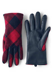 Women's Touchscreen Check Leather Gloves