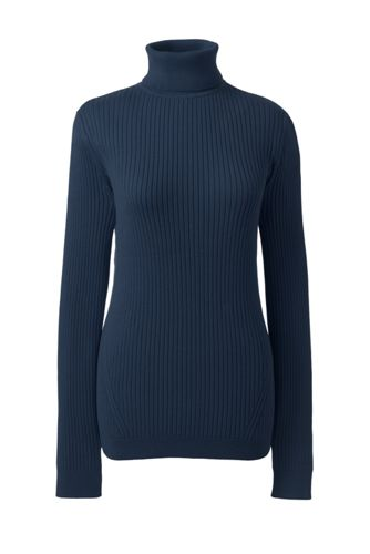 Women's Plus Roll Neck Cotton Ribbed Jumper
