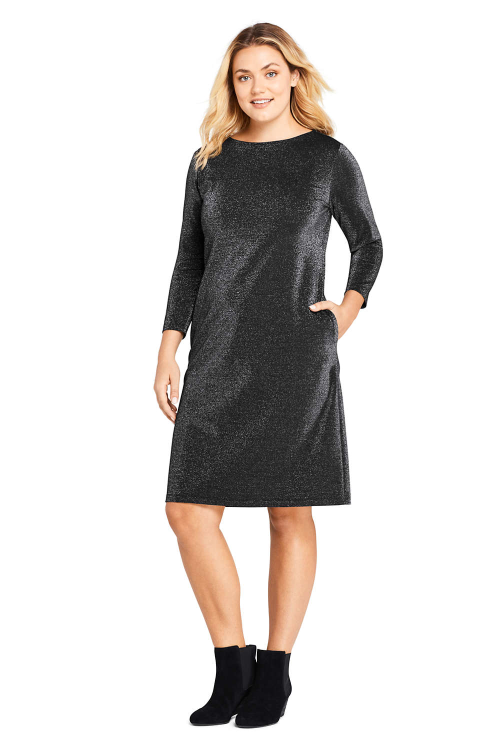 Women\'s Plus Size 3/4 Sleeve Ponte Pullover Sparkle Dress