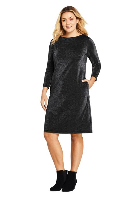 Women's Plus Size 3/4 Sleeve Ponte Pullover Sparkle Dress