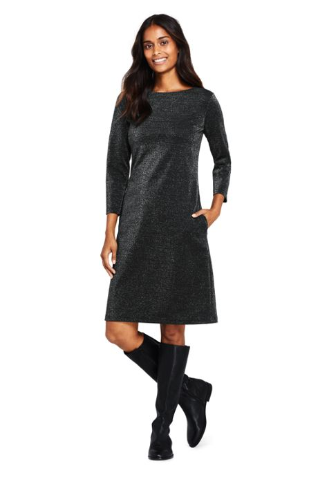Women's 3/4 Sleeve Ponte Pullover Sparkle Dress