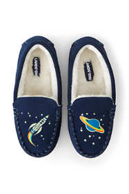 Kids Space Glow in the Dark Suede Leather Moccasin Slippers
