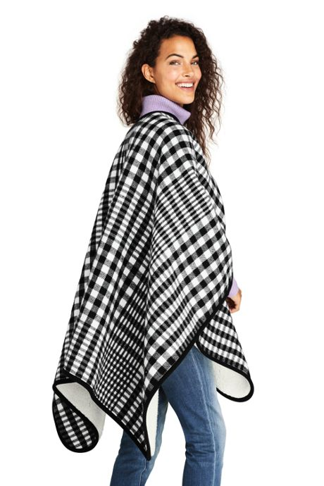 Women's Buffalo Check Sherpa Lined Shawl Wrap