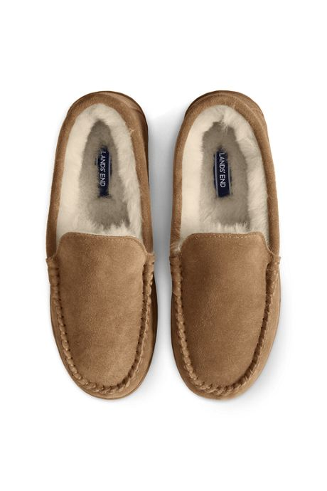 Men's Suede Leather Shearling Fur Moccasin Slippers