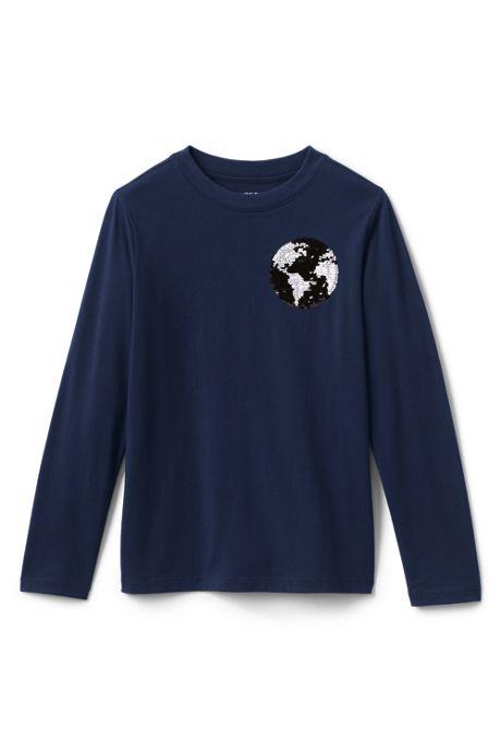 Little Boys Flip Sequin Graphic Tee Shirt