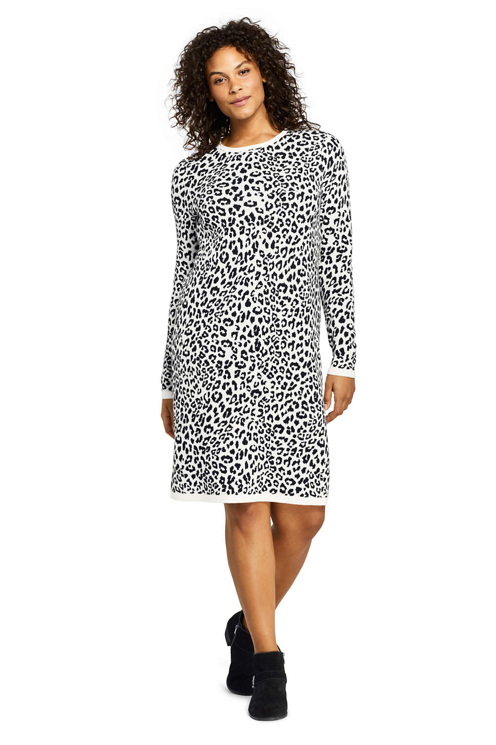 Women\'s Plus Size Long Sleeve Roll Neck Print Sweater Dress