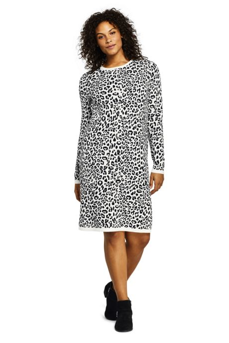 Women's Plus Size Long Sleeve Roll Neck Print Sweater Dress