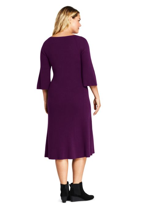 Women's Plus Size 3/4 Sleeve Rib Flounce Sweater Dress