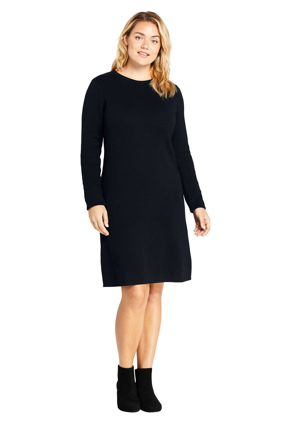 Women\'s Plus Size Long Sleeve Roll Neck Sweater Dress from Lands\' End