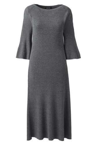 Women's Fit and Flare Rib Knitted Dress