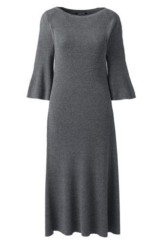 La Robe-Pull Côtelée Manches 3/4, Femme Stature Standard