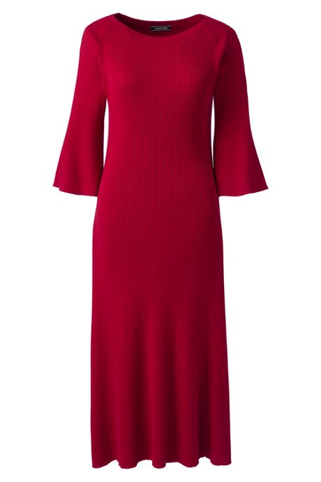 Women's 3/4 Sleeve Rib Flounce Sweater Dress