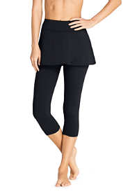 Women's Petite High Waisted Modest Skirted Swim Legging Pants Cover-up UPF 50 Sun Protection