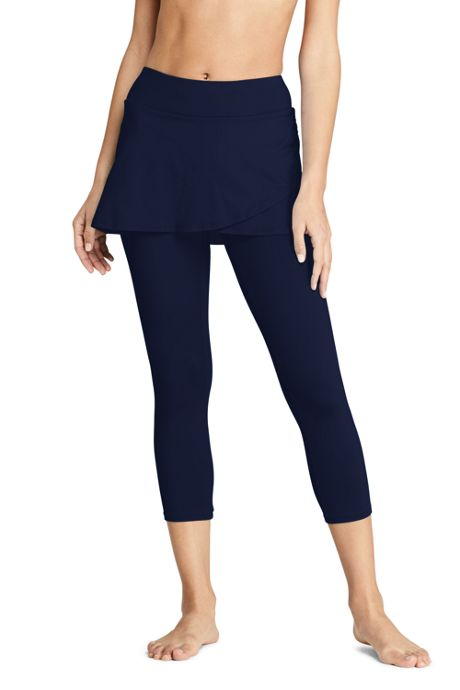 Women's High Waisted Modest Skirted Swim Legging Pants Cover-up UPF 50 Sun Protection