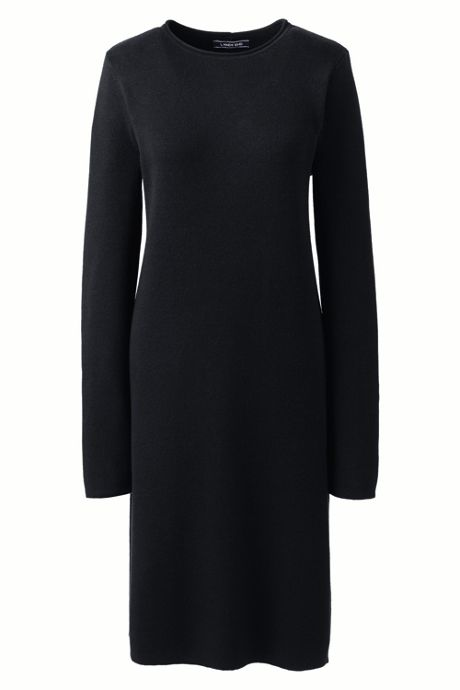 Women's Petite Long Sleeve Roll Neck Sweater Dress