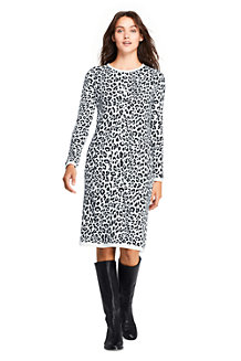 Women's Rolled Neck Leopard Jacquard Knit Dress