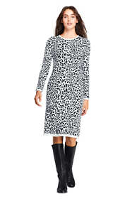 Women's Petite Long Sleeve Roll Neck Print Sweater Dress
