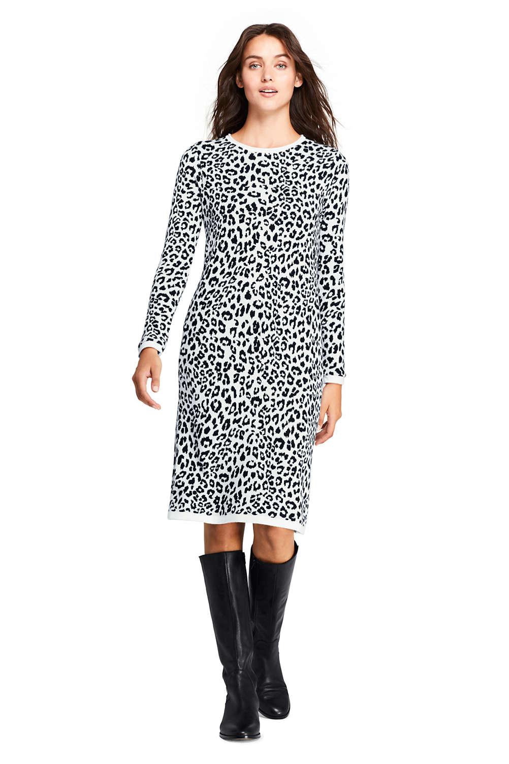 57956fdb3fd Women s Long Sleeve Roll Neck Print Sweater Dress from Lands  End