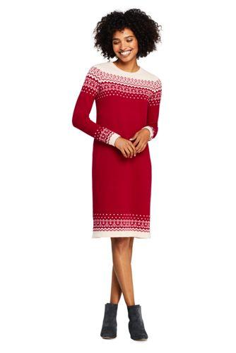 La Robe-Pull Fair Isle Col Roulotté, Femme Stature Standard