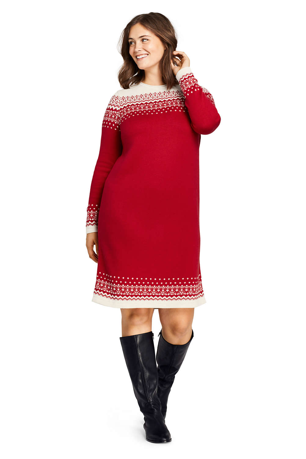Women\'s Plus Size Long Sleeve Roll Neck Sweater Dress