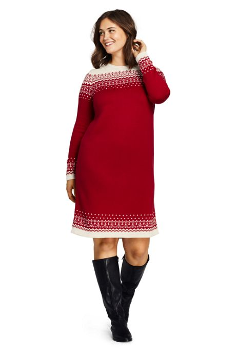 Women\'s Plus Size Long Sleeve Roll Neck Sweater Dress, Sweater ...