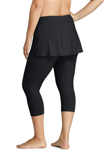 Women's Plus Size High Waisted Skirted Swim Legging Pants Cover-up UPF 50 Sun Protection