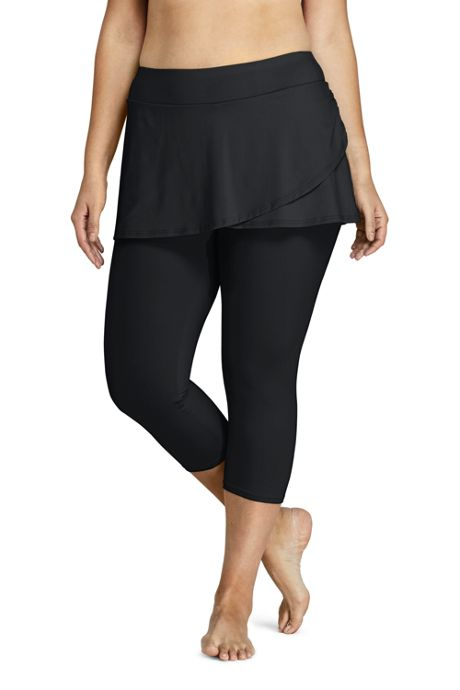 Women's Plus Size Swim Cover-up Skirted Leggings