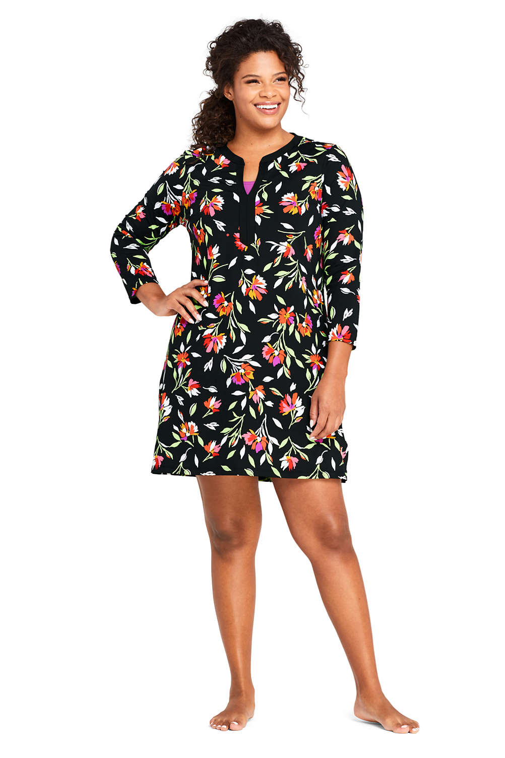679d8b88a0308 Women s Plus Size Swim Cover-up Tunic Dress with UV Protection Print from  Lands  End