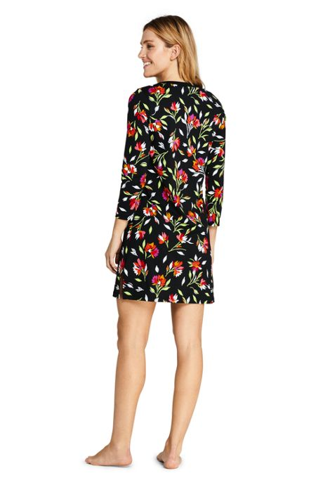Women's Petite Swim Cover-up Tunic Dress with UV Protection Print