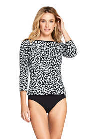 Women's Long Swim Cover-up Boatneck Swim Tee Rash Guard Print