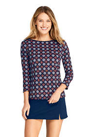 Women's Petite Swim Cover-up Boatneck Swim Tee Rash Guard Print