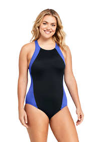 Women's Plus Size Chlorine Resistant High-neck One Piece Swimsuit