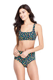 Women's D-Cup Square Neck Bikini Top Swimsuit Print