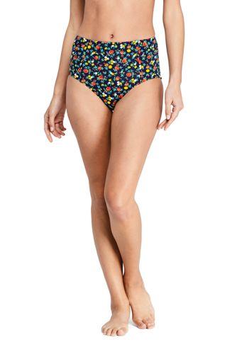 Women's Beach Living Retro High Waist Bikini Briefs, Print