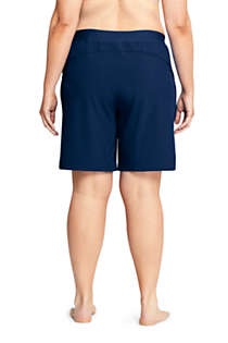 "Women's Plus Size Comfort Waist 9"" Swim Shorts with Panty, Back"