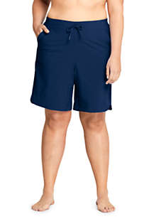 "Women's Plus Size Comfort Waist 9"" Swim Shorts with Panty, Front"