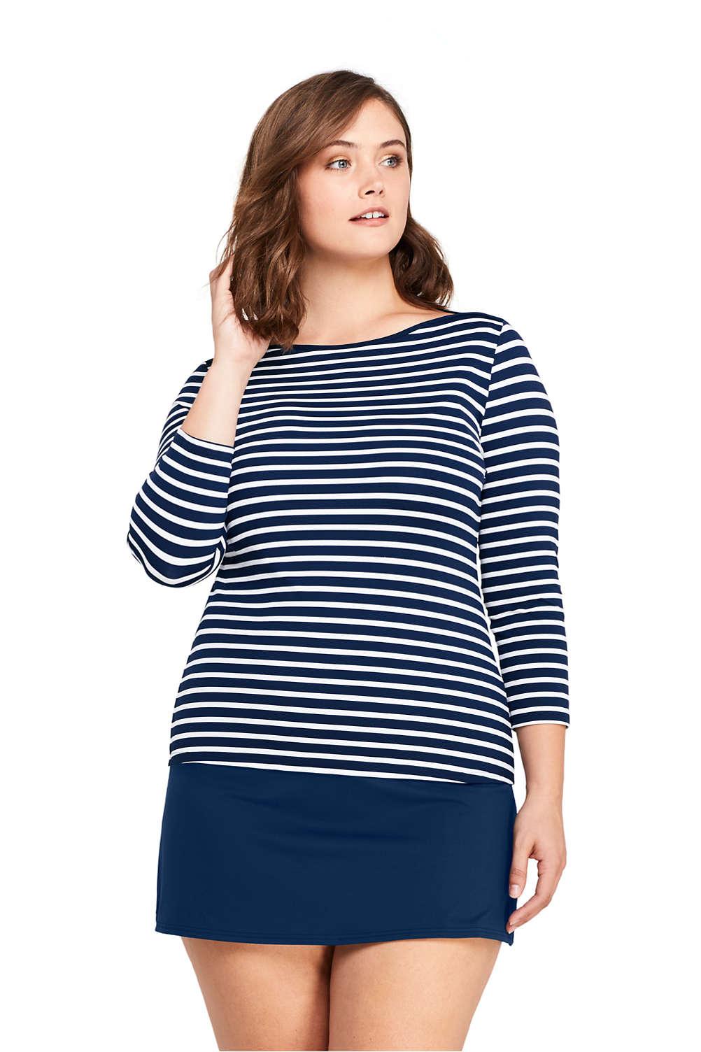 95eea71e981 Women S Plus Size Swim Cover Up Boatneck Tee Rash Guard Print